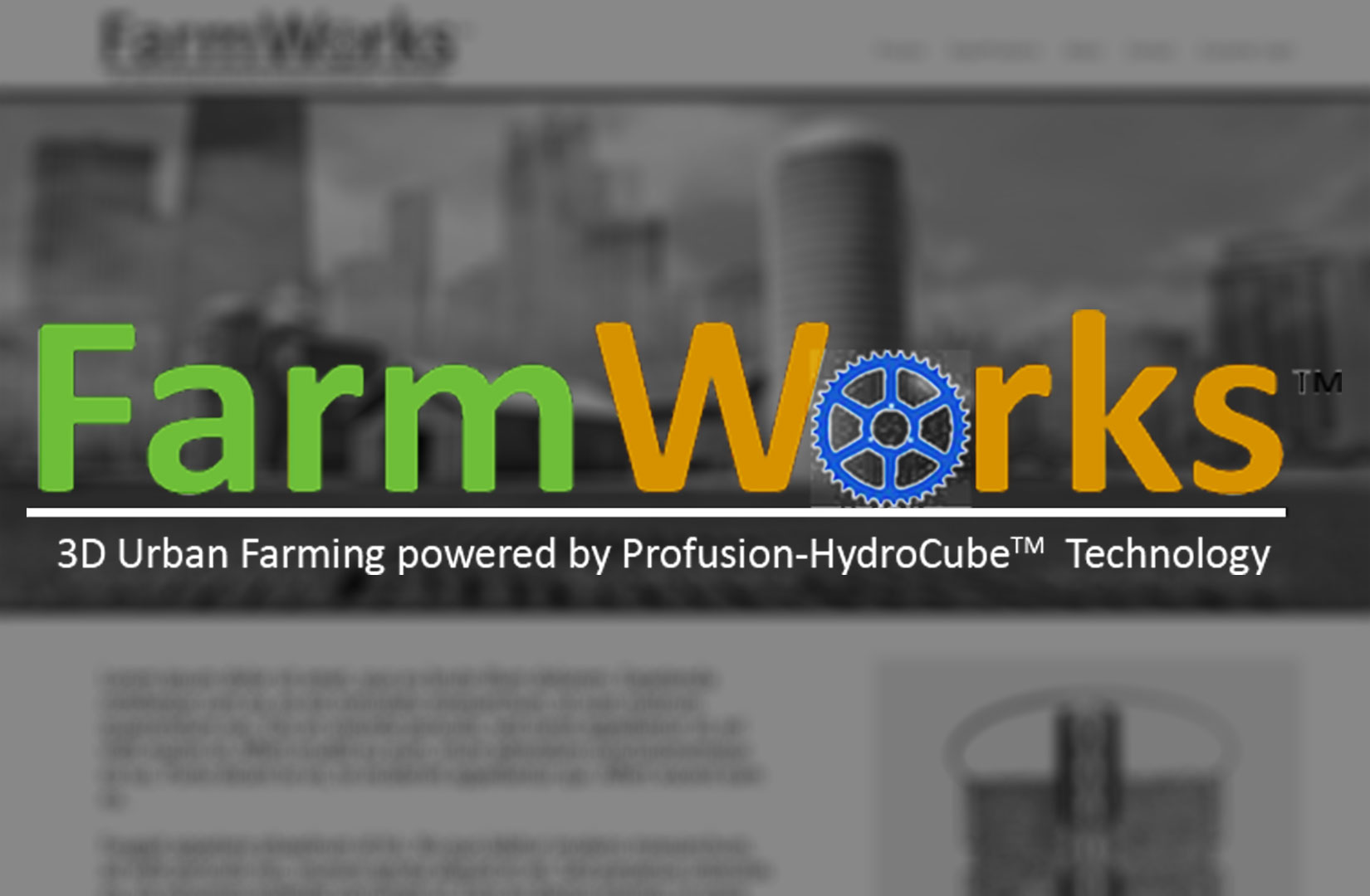 FarmWorks Provides Patented high-density hydroponic technology for Urban Farming | FarmWorks is an EnVision Corporation Environmental Incubator Project